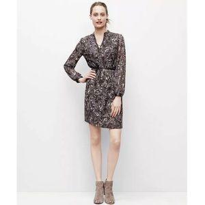 Ann Taylor Brown Feather Long Sleeve Shirt Dress